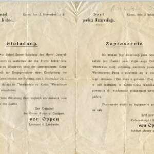 Zaproszenie na uroczystości ogłoszenia Aktu 5 listopada dla Jana Moszyńskiego z Sójek, zbiory MRK.